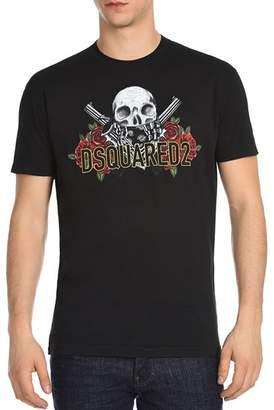 DSQUARED2 Floral Skull Logo Tee