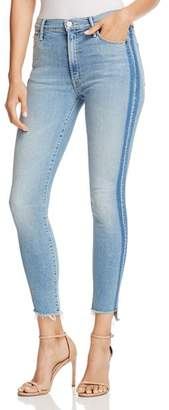 Mother Stunner Side-Stripe Ankle Step-Hem Fray Skinny Jeans in Light Kitty Racer