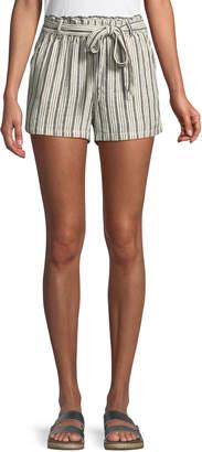 Sanctuary Striped Linen Tie-Waist Paperbag Shorts