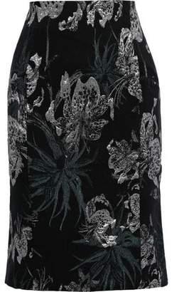 Erdem Brenda Metallic Floral-jacquard Pencil Skirt
