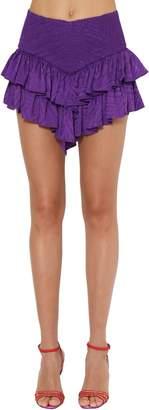 ATTICO Ruffled Silk Jacquard Mini Skirt