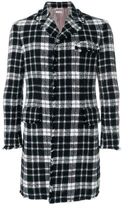 Thom Browne Tweed Tartan Check High-Armhole Chesterfield Overcoat