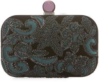 Jimmy Choo Floral-Beaded Velvet Clutch Bag