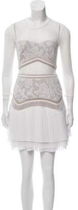 Three floor Lace-Trimmed Pleated Dress White Lace-Trimmed Pleated Dress