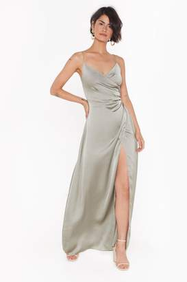 Nasty Gal Womens Right Bride Your Side Satin Maxi Dress - Green - 8
