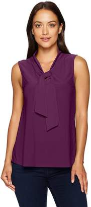 Star Vixen Women's Petite Sleeveless Tieneck Blouse