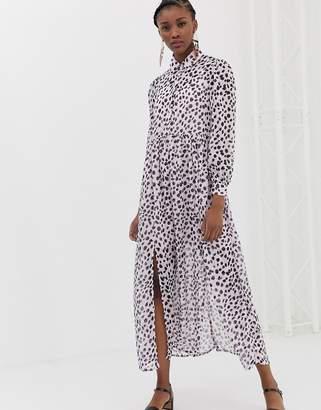 Glamorous maxi shirt dress in dalmatian print