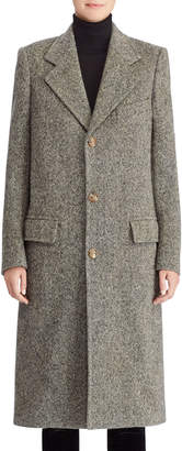 Ralph Lauren 50th Anniversary Bernette Three-Button Melange Wool Mid-Length Coat