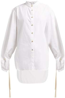 story. White Lee Mandarin Collar Oversized Shirt - Womens - White