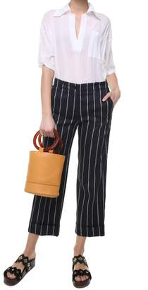 Alberto Biani Striped Cotton And Linen-blend Trousers