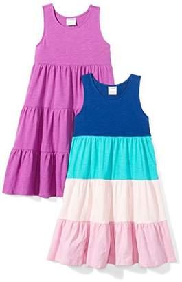 Spotted Zebra Girls' Little 2-Pack Knit Sleeveless Tiered Dresses