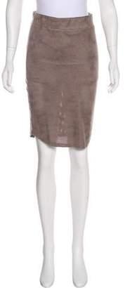 Monrow Perforated Knee-Length Skirt
