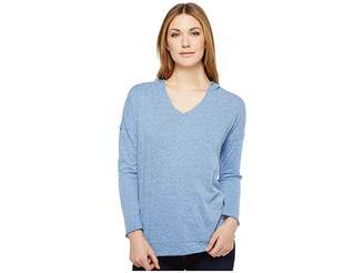 Mod-o-doc Pinstripe Jersey Boxy Pullover Hoodie Women's Sweatshirt