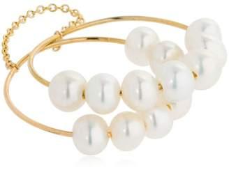 Saskia Diez Pearl Double Ring W/ Chain