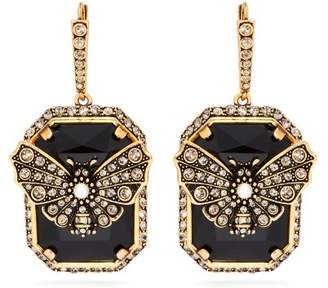 Alexander McQueen Butterfly Pave Crystal Drop Earrings - Womens - Black