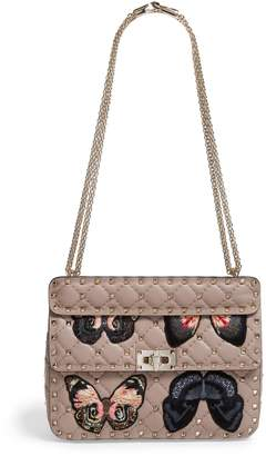 Valentino Medium Butterfly Embroidery Rockstud Spike Shoulder Bag