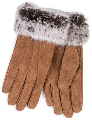 totes Tan Suede Gloves With Faux Fur Cuff
