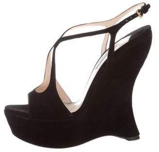 Prada Suede Ankle Strap Wedge Sandals