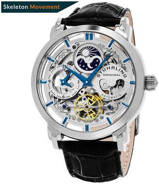 Stuhrling Original Stainless Steel Alligator Embossed Genuine Leather Strap Watch
