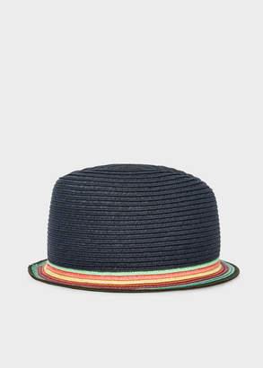 Paul Smith Men's Slate Blue Trilby Hat With 'Artist Stripe' Brim