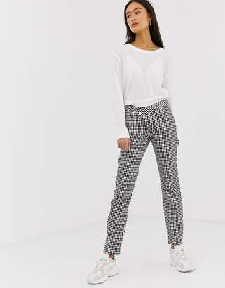 Asos Design DESIGN Florence authentic straight leg jeans in mono gingham print with wrap waistband