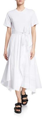 3.1 Phillip Lim Belted Crewneck Poplin Combo Tee Dress