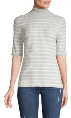 Jones New York Stripe Ribbed Short-Sleeve Sweater