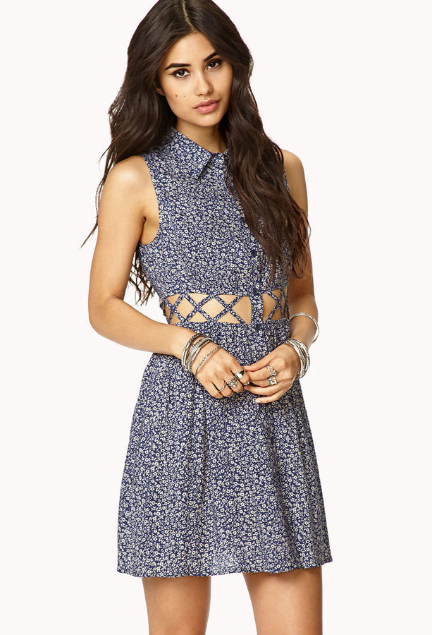 Forever 21 Caged Waisted Floral Dress