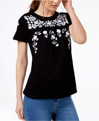Charter Club Cotton Floral-Print T-Shirt, Created for Macy's