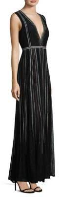 BCBGMAXAZRIA Lace V-Neck Gown