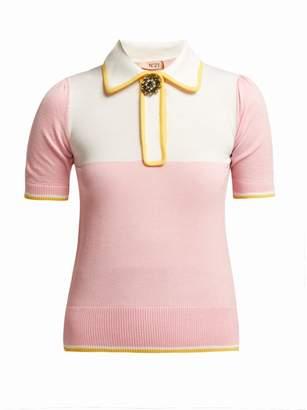No.21 No. 21 - Short Sleeved Wool Blend Sweater - Womens - Pink