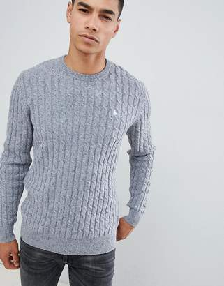 Jack Wills Marlow cable knit wool blend nep sweater in gray marl