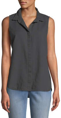NYDJ Button-Front Linen/Cotton Blouse