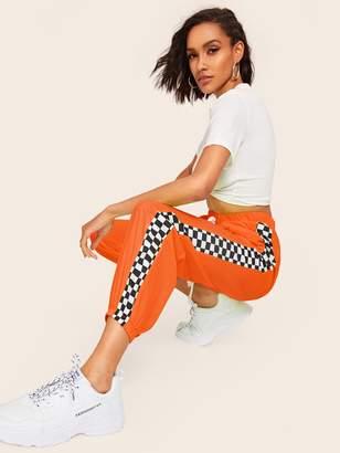 Shein Neon Orange Check Panel Elastic Hem Pants