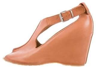 MM6 MAISON MARGIELA Leather Peep-Toe Wedges