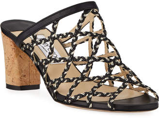 Jimmy Choo Dean Braided Rope & Leather Cutout Slide Sandals