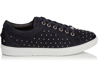 Jimmy Choo CASH Navy Velvet Suede Low Top Trainers with All Over Grey Pearls