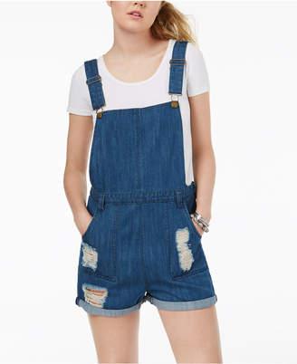 Tinseltown Juniors' Ripped Cotton Denim Shortalls