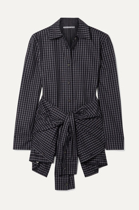 Alexander Wang Layered Tie-front Checked Poplin Shirt - Black