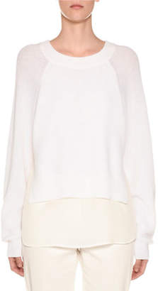 Agnona Crewneck Wool Sweater with Crepe de Chine Slip