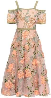 Marchesa Cold-shoulder Embellished Tulle Midi Dress