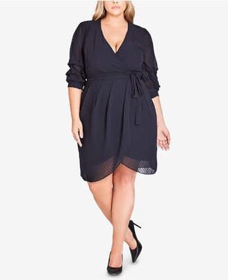 City Chic Trendy Plus Size Ruffle-Sleeve Faux-Wrap Dress