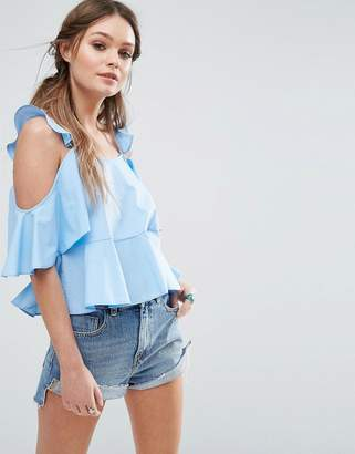 ASOS Cotton Sun Top With Ruffle Cold Shoulder $40 thestylecure.com
