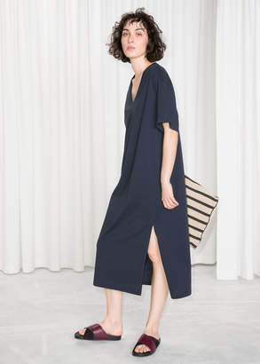 And other stories V-Neck Midi T-Shirt Dress