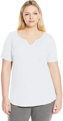 d3d8f2d434f2f Just My Size Women s Plus-Size Solid Split Neck Shirttail Hem Tee