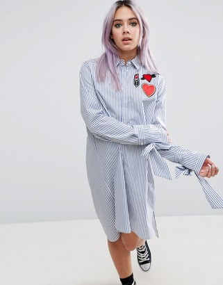 Asos Stripe Shirt Dress With Oversized Cuff & Badges