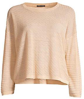 Eileen Fisher Women's Fine Ribbed Organic Linen Sweater
