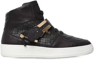 D-S!de Woven Leather High Top Sneakers