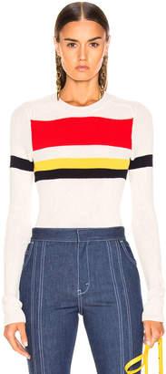 Victoria Beckham Long Sleeve Stripe Top in Vanilla & Bright Red Multi | FWRD