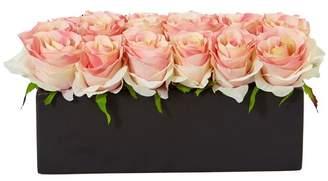 House of Hampton Silk Dozen Roses Floral Arrangement in Planter Flower